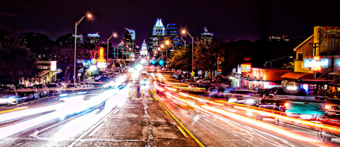 night time image of downtown Austin texas
