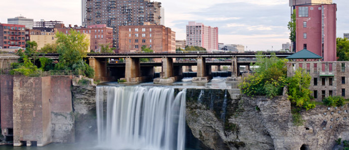 waterfall in downtown rochester, new york state