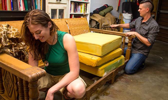 morgan and jon restoring furniture in their la home