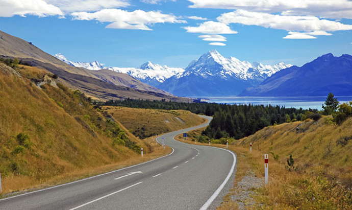 Lake Tekapo with Mount Cook in the background