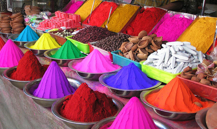 Pigment on sale at a market in Mysore, India