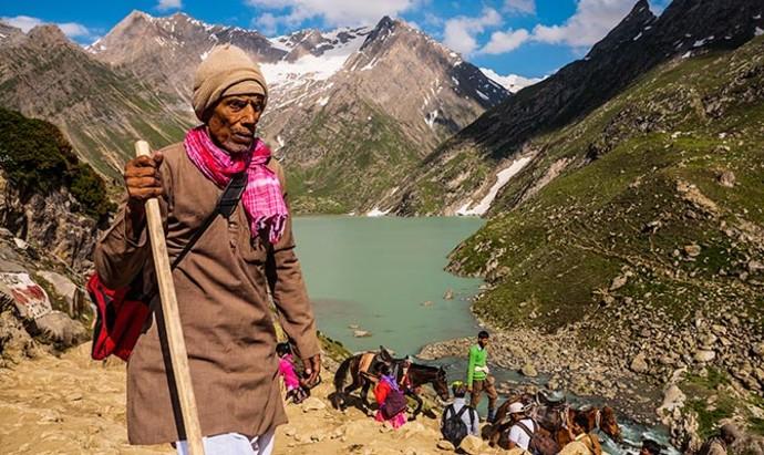 Pilgrims on the Amarnath Yatra in Kashmir, India