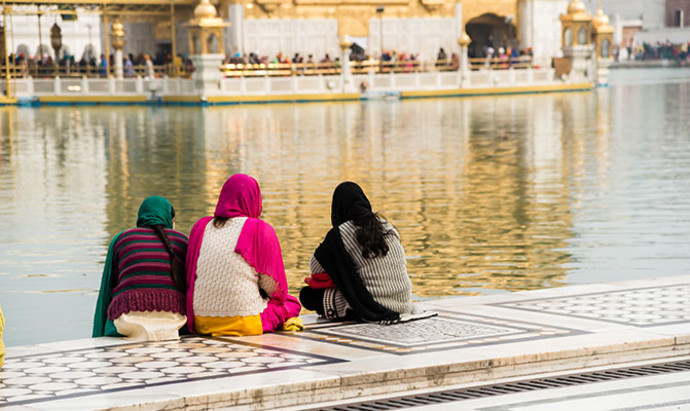 Sikh pilgrims at the Golden Temple in Amritsar in Punjab, India