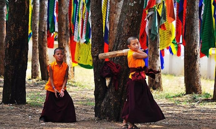 Buddhist monks playing cricket in Bangalore, India