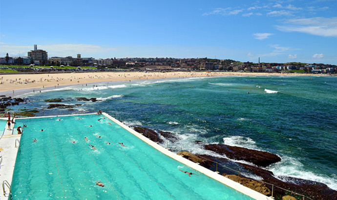 swimming pool of Manly beach, Sydney on a summer day