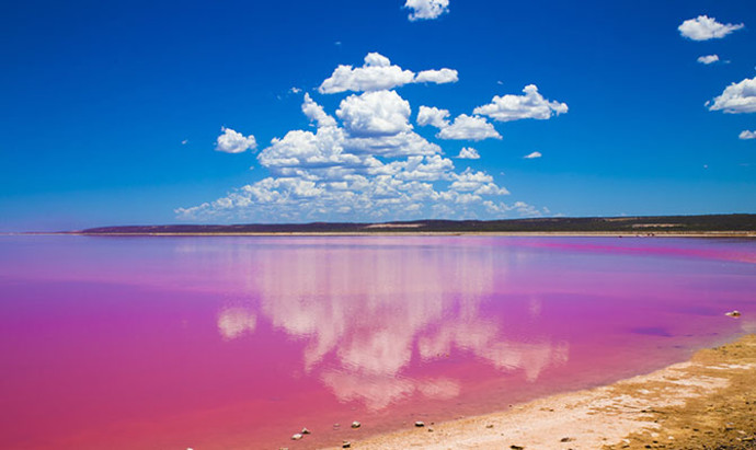 Hutt Lagoon pink lake on an almost cloudless day