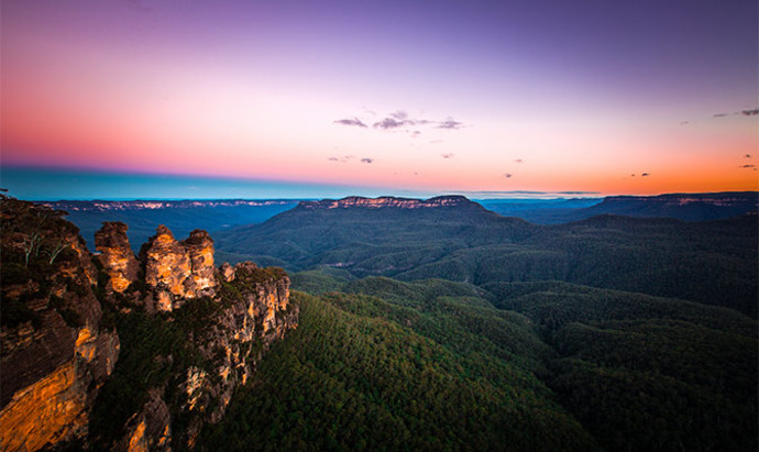 Sunset in Australia as seen from the Blue Mountains