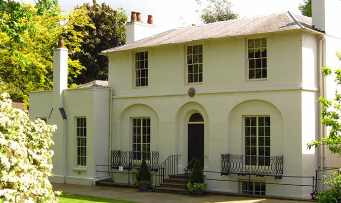 white-painted home that the British poet Keats lived in in Hampstead, London