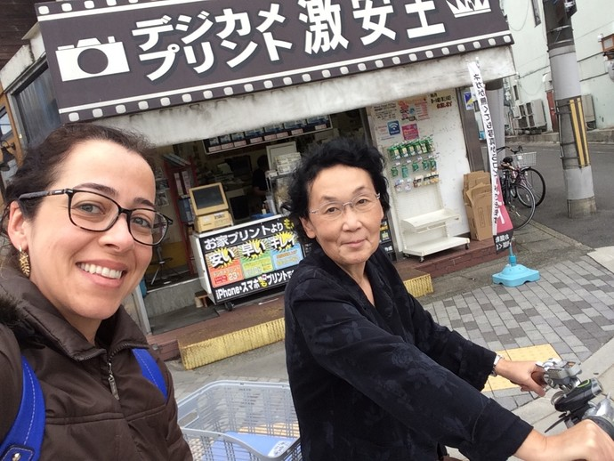 Miyako taking me to a small site seeing by bicycle