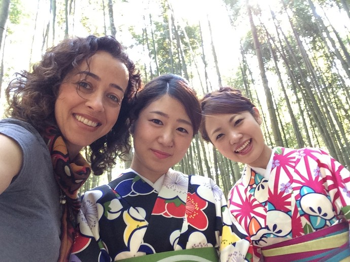 Bamboo forest with some Japanese girls wearing Kimonos