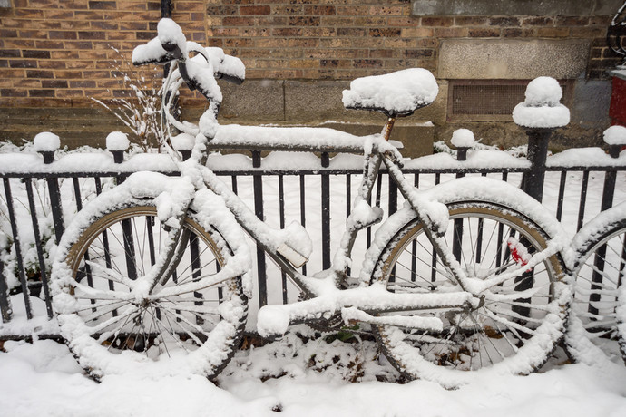 Snow Covered Bike in Montreal