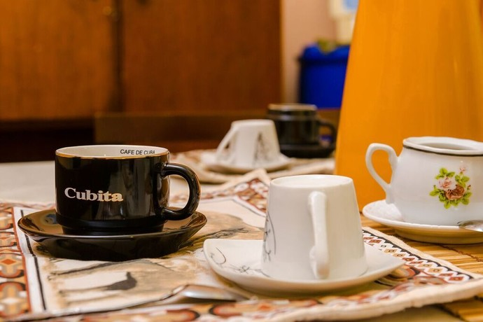 Cuban coffee served at Pedro and Marilys homestay in Havana each morning