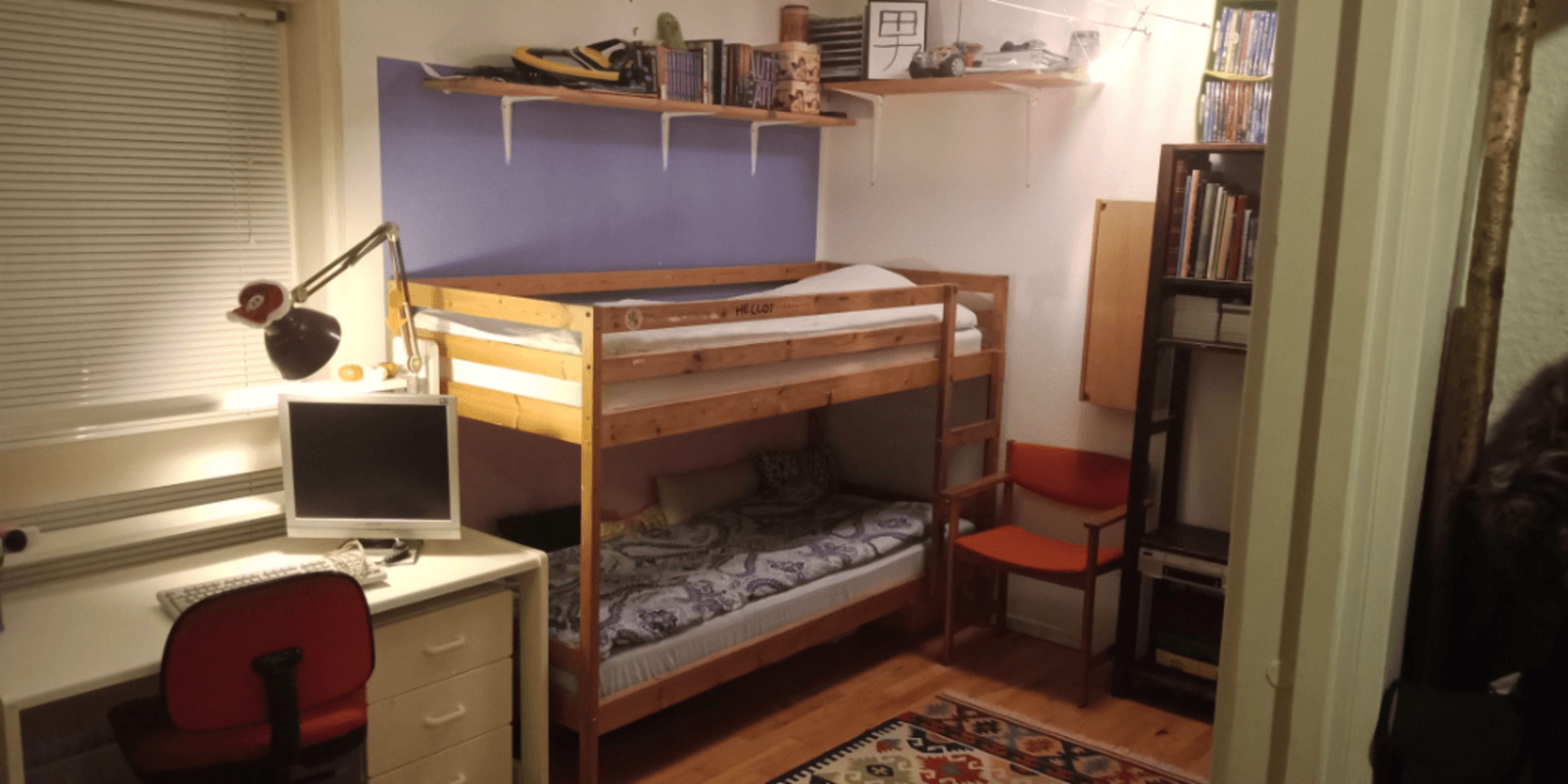 Entire room 2 person Bunkbed wifi breakfast bedding towels