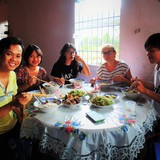 Familia anfitriona en Tan Quy Dong, Sadec, Vietnam